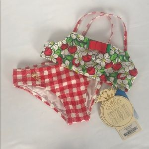 ArinA Festivita 2pc red/white size 6 swimsuit NWT